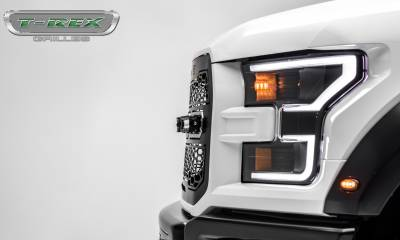 "T-REX Grilles - 2017-2019 F-150 Raptor SVT Revolver Grille, Black, 1 Pc, Replacement, Chrome Studs, Incl. (4) 6"" LEDs, Fits Vehicles with Camera - PN #6515671 - Image 9"