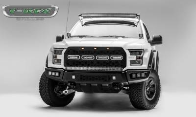 "T-REX Grilles - 2017-2019 F-150 Raptor SVT Revolver Grille, Black, 1 Pc, Replacement, Chrome Studs, Incl. (4) 6"" LEDs, Fits Vehicles with Camera - PN #6515671 - Image 6"