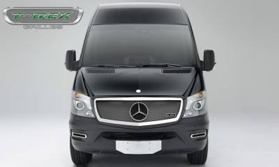 Upper Class Series Grilles - T-REX Grilles - Mercedes Sprinter 2014-2017 Mercedes Benz Sprinter Van, Upper Class, Formed Mesh Grille, Main, Replacement, Chromed Stainless Steel - Pt # 56850