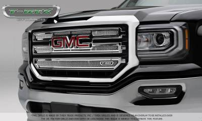 Upper Class Series Grilles - T-REX Grilles - T-REX GMC Sierra 1500 - SLT - Upper Class Main Grille - 2 PC Overlay - Polished Stainless Steel - Pt # 54215