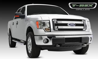 Laser Billet Grilles - T-REX Grilles - Ford F150 XLT, Billet Grille, Main, Overlay, 4 Pc's, Black Powder Coating Aluminum Bars