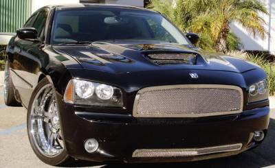 Sport Series Grilles - Dodge Charger SRT Upper Class Stainless Mesh Bumper - All Black