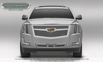 Clearance - Cadillac Escalade Upper Class Main Grille Replacement - Chrome Plated w/ Chrome Center Trim Piece - Pt # 56185