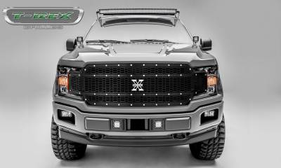 X-Metal Series Grilles - T-REX Grilles - Ford F-150 - Laser X-Metal Series - Main Grille Replacement - Laser Cut Steel Pattern - Chrome Studs with Black Powdercoat Finish - Pt # 7715841