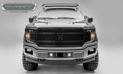 Stealth Metal Grilles - T-REX Ford F-150 - Laser X-Metal STEALTH Series - Main Grille Replacement - Laser Cut Steel Pattern - Black Studs with Black Powdercoat Finish - Pt # 7715841-BR