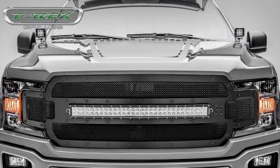 "T-REX Grilles - 2018-2019 F-150 Stealth Torch Grille, Black, 1 Pc, Replacement, Black Studs, Incl. (1) 30"" LED - PN #6315711-BR - Image 2"