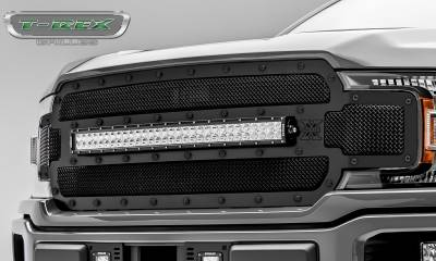 T-REX Grilles - 2018-2020 F-150 Stealth Torch Grille, Black, 1 Pc, Replacement, Black Studs, Incl. 30 Inch LED - PN #6315711-BR - Image 3