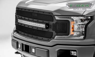 "T-REX Grilles - 2018-2019 F-150 Stealth Torch Grille, Black, 1 Pc, Replacement, Black Studs, Incl. (1) 30"" LED - PN #6315711-BR - Image 4"