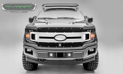 X-Metal Series Grilles - T-REX Grilles - T-REX Ford F-150 - X-Metal Series - 2 PC Main Grille Overlay / Insert with Chrome Studs and Black Powdercoat Finish - Pt # 6715691