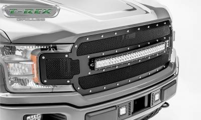 T-REX Grilles - 2018-2020 F-150 Torch Grille, Black, 1 Pc, Replacement, Chrome Studs, Incl. 30 Inch LED - PN #6315711 - Image 3