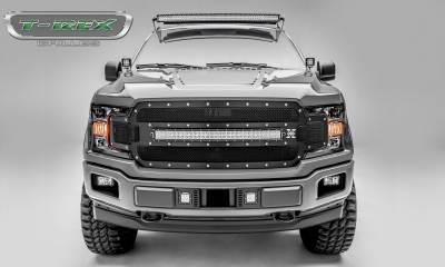 "Torch Series Grilles - T-REX Grilles - T-REX Ford F-150 - Torch Series - Main Grille Replacement w/ (1) 30"" LED Light Bar - Chrome Studs with Black Powdercoat Finish - Pt # 6315711"
