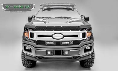 "Torch Series Grilles - T-REX Grilles - Ford F-150 - Torch Series - 2 PC Main Grille Overlay / Insert w/ (2) 6"" LED Light Bars - Chrome Studs and Black Powdercoat Finish - Pt # 6315691"