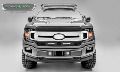 "Torch Series Grilles - T-REX Ford F-150 - Torch STEALTH Series - 2 PC Main Grille Overlay / Insert w/ (2) 6"" LED Light Bars - Black Studs and Black Powdercoat Finish - Pt # 6315691-BR"