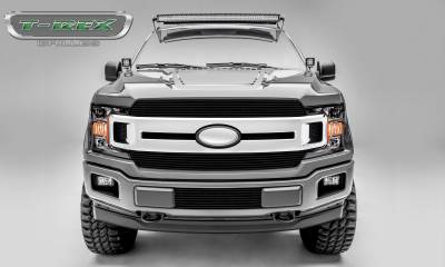 Billet Series Grilles - T-REX Grilles - T-REX Ford F-150 - Billet Series - 2 PC Main Grille Overlay / Insert with Black Powdercoat Aluminum Finish - Pt # 20571B