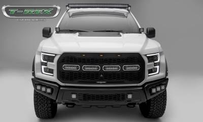 "T-REX Grilles - 2017-2019 F-150 Raptor SVT Revolver Grille, Black, 1 Pc, Replacement, Chrome Studs, Incl. (4) 6"" LEDs, Fits Vehicles with Camera - PN #6515671"