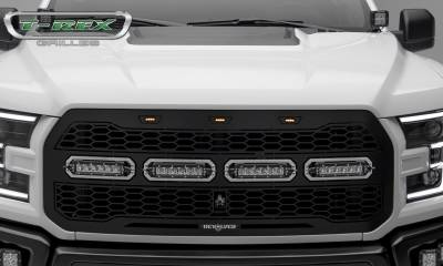 "T-REX Grilles - 2017-2019 F-150 Raptor SVT Revolver Grille, Black, 1 Pc, Replacement, Chrome Studs, Incl. (4) 6"" LEDs, Fits Vehicles with Camera - PN #6515671 - Image 2"