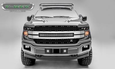"Torch Series Grilles - Ford F-150 Torch-AL Series, Replacement Grille, Includes (1) 30"" LED Light Bar, Universal Wire Harness, Aluminum Frame, Laser Cut Web Pattern, Chrome Studs, Black w/ Black Mesh and Brushed Trim Pt # 6315783"