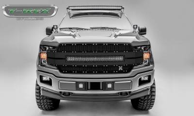 "Torch Series Grilles - Ford F-150 Torch-AL Series, Replacement Grille, Includes (1) 30"" LED Light Bar, Universal Wire Harness, Aluminum Frame, Laser Cut Web Pattern, Chrome Studs, Black w/ Black Mesh and Black Trim Pt # 6315781"