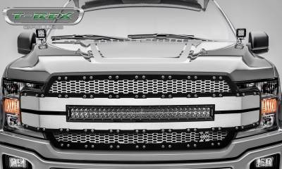 "T-REX Grilles - 2018-2019 F-150 Torch AL Grille, Brushed Mesh and Trim, 1 Pc, Replacement, Chrome Studs, Incl. (1) 30"" LED - PN #6315785 - Image 2"