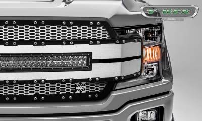 "T-REX Grilles - 2018-2019 F-150 Torch AL Grille, Brushed Mesh and Trim, 1 Pc, Replacement, Chrome Studs, Incl. (1) 30"" LED - PN #6315785 - Image 3"