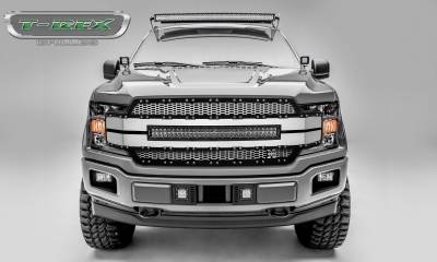 "Torch Series Grilles - Ford F-150 Torch-AL Series, Replacement Grille, Includes  (1) 30"" LED Light Bar, Universal Wire Harness, Aluminum Frame, Laser Cut Web Pattern, Chrome Studs, Black w/ Brushed Mesh and Brushed Trim Pt # 6315785"