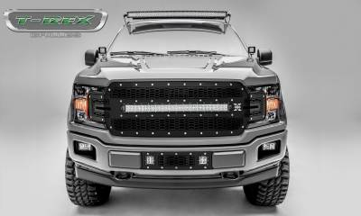 "Torch Series Grilles - T-REX Ford F-150 - Laser Torch Series - Main Grille Replacement w/ (1) 30"" LED Light Bar - Laser Cut Steel Pattern - Chrome Studs with Black Powdercoat Finish - Pt # 7315711"