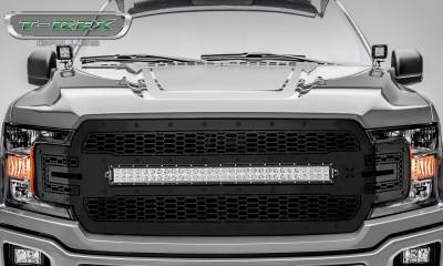 "T-REX Grilles - 2018-2019 F-150 Stealth Laser Torch Grille, Black, 1 Pc, Replacement, Black Studs, Incl. (1) 30"" LED - PN #7315711-BR - Image 2"