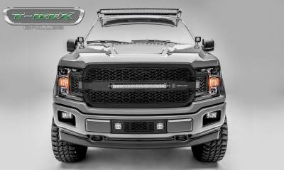 "ZROADZ Series Grilles - T-REX Ford F-150 - ZROADZ Series - Main Grille Replacement w/ (1) 20"" LED Light Bars - Laser Cut Steel Pattern - Black Powdercoat Finish - Pt # Z315711"