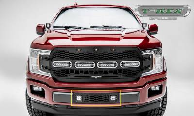 "Revolver Series Grilles - T-REX Grilles - T-REX Ford F-150 - REVOLVER Series Bumper Grille Overlay - w/ (2) 3"" LED Light Pods and Black Powdercoat Finish - Pt # 6525751"