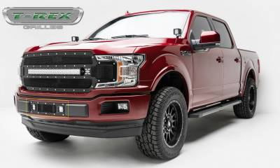 T-REX Grilles - 2018-2020 F-150 Limited, Lariat Torch Bumper Grille, Black, 1 Pc, Replacement, Chrome Studs, Incl. (2) 3 Inch LED Cube Lights - PN #6325791 - Image 5