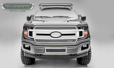 Upper Class Series Grilles - T-REX Ford F-150 - Upper Class Series - Bumper Grille Overlay with Framed Woven Wire Mesh and Polished Stainless Steel Finish - Pt # 55710