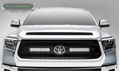 "Torch Series Grilles - Toyota Tundra Torch STEALTH Grille - Main Replacement w/ OE Logo Provision - Black Powdercoated Woven Wire Mesh w/ (2) 12"" LED Lights & Black Studs - Pt # 6319661-BR"