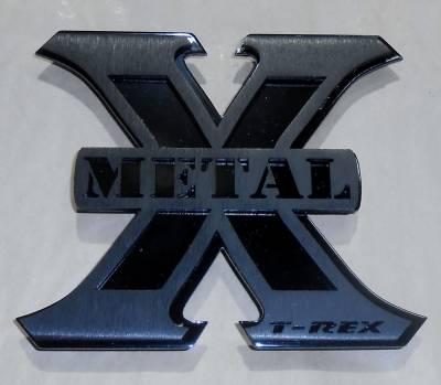 """Emblems, Logoz and DIY Components - Logo Billet Accessories - X-Metal  Logo, 2 1/4"""" x 2 3/4"""""""