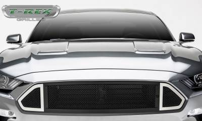 DJ Series Grilles - T-REX Grilles - Mustang DJ Series Main Grille insert Black with Stainless Accent Trim #DJ10550