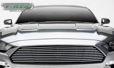 Billet Series Grilles - T-REX Grilles - Ford Mustang GT - Billet Grille - Main, Overlay with Black Powder Coated Finish and Polished Face - Pt # 6215500