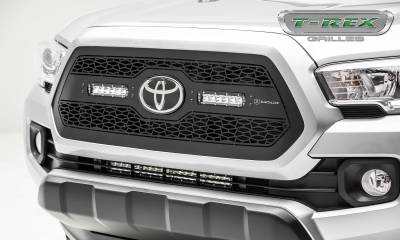 ZROADZ Series Grilles - Toyota Tacoma - ZROADZ Series - Main Insert - Grille w/ (2) 6 Inch Slim Line Single Row LED Light Bar - Includes Universal Wiring Harness - Accepts factory TSS logo - Part# Z319511