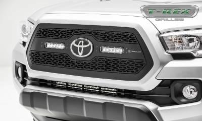ZROADZ Series Grilles - T-REX Grilles - Toyota Tacoma - ZROADZ Series - Main Insert - Grille w/ (2) 6 Inch Slim Line Single Row LED Light Bar  - Part# Z319511
