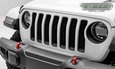 "Billet Series Grilles - T-REX Grilles - Jeep Wrangler JL - Billet Series -  3/16"" Thick Laser Cut Aluminum - Insert Bolts-On Behind Factory Grille -  Black Powder Coat Finish - Pt # 6204931"