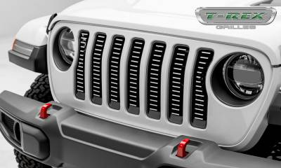 Billet Series Grilles - T-REX Grilles - Jeep Wrangler JL - Billet Series -  3/16' Thick Laser Cut Aluminum - Insert Bolts-On Behind Factory Grille -  Brushed Finish Face - Pt # 6204933