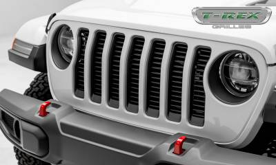 "Billet Series Grilles - T-REX Grilles - Jeep Wrangler JL - Billet Series -  3/8"" Thick Round Billet Stock - Insert Bolts-On Behind Factory Grille -  Black Powder Coat Finish - Pt # 6204941"