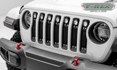 "Torch Series Grilles - T-REX Grilles - Jeep Wrangler JL - Torch Series w/ (7) 2"" Round LED Lights -  1 Piece Frame & Formed Wire Mesh - Insert Bolts-On Behind Factory Grille - Pt # 6314931"