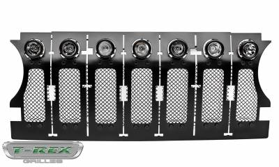 "T-REX Grilles - 2018-2019 Jeep JL, JLU Stealth Torch Grille, Black, 1 Pc, Insert, Black Studs, Incl. (7) 2"" LED Round Lights - PN #6314931-BR - Image 7"