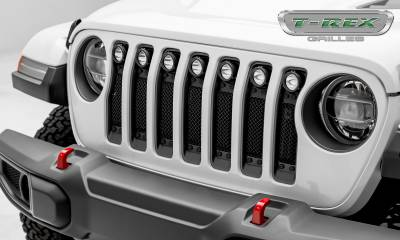 "T-REX Grilles - 2018-2019 Jeep JL, JLU Stealth Torch Grille, Black, 1 Pc, Insert, Black Studs, Incl. (7) 2"" LED Round Lights - PN #6314931-BR - Image 1"