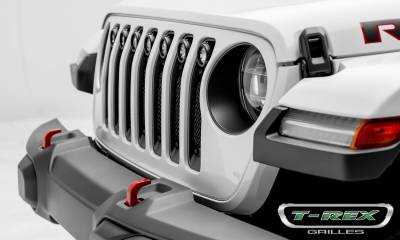 "T-REX Grilles - 2018-2019 Jeep JL, JLU Stealth Torch Grille, Black, 1 Pc, Insert, Black Studs, Incl. (7) 2"" LED Round Lights - PN #6314931-BR - Image 2"