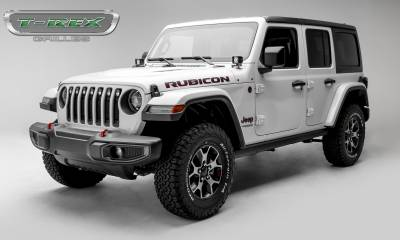 "T-REX Grilles - 2018-2019 Jeep JL, JLU Stealth Torch Grille, Black, 1 Pc, Insert, Black Studs, Incl. (7) 2"" LED Round Lights - PN #6314931-BR - Image 3"