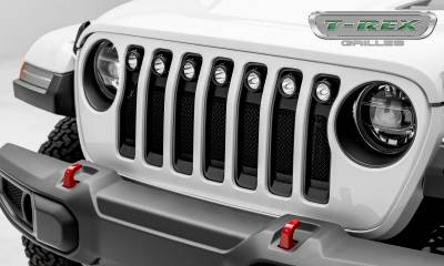 "Torch Series Grilles - T-REX Grilles - Jeep Wrangler JL - Torch Series w/ (7) 2"" Round LED Lights - 1 Piece Frame & Formed Wire Mesh - Insert Bolts-On Behind Factory Grille  - Pt # 6314941"