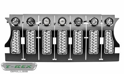 "T-REX Grilles - Jeep Gladiator, JL ZROADZ Grille, Black, 1 Pc, Insert, Incl. (7) 2"" LED Round Lights, without Forward Facing Camera - PN #Z314931 - Image 7"