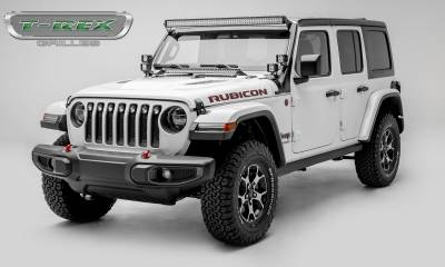 "T-REX Grilles - Jeep Gladiator, JL ZROADZ Grille, Black, 1 Pc, Insert, Incl. (7) 2"" LED Round Lights, without Forward Facing Camera - PN #Z314931 - Image 2"