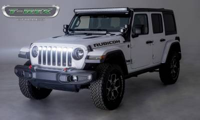 "T-REX Grilles - Jeep Gladiator, JL ZROADZ Grille, Black, 1 Pc, Insert, Incl. (7) 2"" LED Round Lights, without Forward Facing Camera - PN #Z314931 - Image 3"