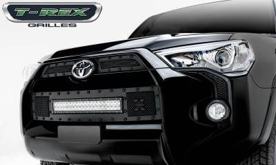 "T-REX Grilles - 2014-2019 Toyota 4Runner Stealth Torch Grille, Black, 3 Pc, Insert, Black Studs, Incl. (1) 20"" LED - PN #6319491-BR"